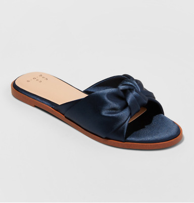 6b875da3485 WOMEN S STACIA KNOTTED Satin Slide Sandals Navy - A New Day ...