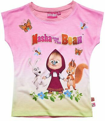 Girls Kids Official Masha And The Bear Rabbit Squirrel Short Sleeve T Shirt Top