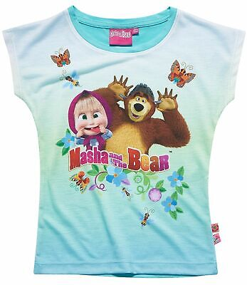 Girls Kids Official Masha And The Bear Light Blue Short Sleeve T Shirt Top