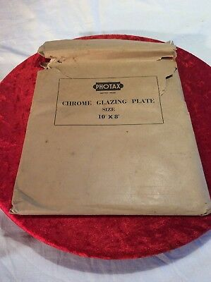 Vintage PHOTAX Photographic Chrome Glazing Plate 10 x 8