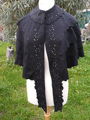 Beautiful antique french embroided Épaule Cape provencale  dark fabric