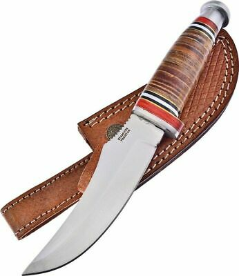 Trophy Stag Stacked Leather Handle Bowie Fixed Blade Knife TS-203LTHR