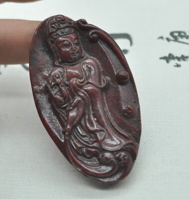 Chinese ancient old hard jade hand-carved pendant necklace ~Guanyin  M08