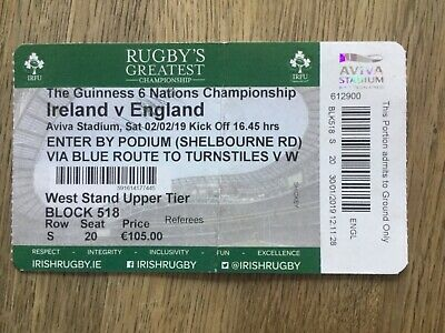 ireland v england rugby ticket February 2019 - unusual one as it's a reissue!