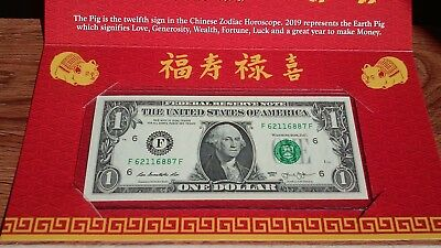 2019  Lunar Chinese New YEAR of the PIG Lucky U.S. $1 Bill