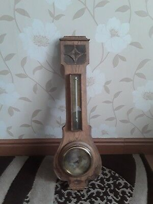 Antique Carved  Light Oak English Aneroid Banjo Barometer & Thermometer