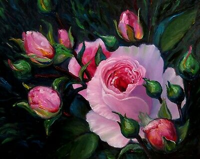 "PINK ROSE 20X16""  Realism Art Floral Original Oil Painting New Nadia Bykova"