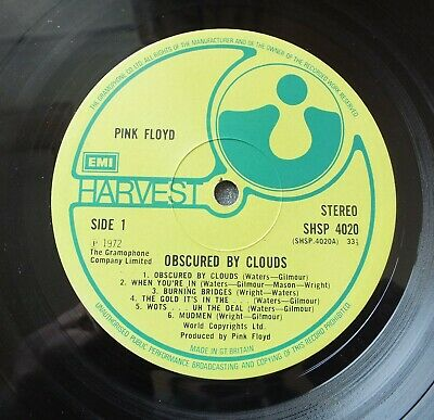 "PinK FLoyD Obsured By Clouds "" Stampers GR-1- R0-2 "" Textured Cover Ex+"