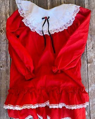 Vintage Girls Red Lace Frill Winnie The Pooh Dress Size 6x