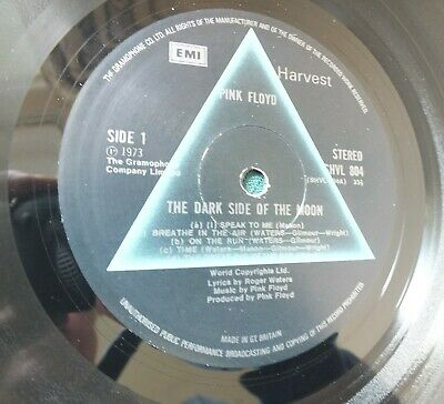 PinK FLoyD The Dark Side Of The Moon SHVL 804 2nd Press Gramaphone Rim Text Ex+