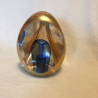 "Edward Nesteruk Pennsylvania Art Glass 4""paperweight Golden Blue"