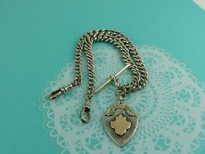 Antique Sterling Silver Double Albert Watch Chain Chester 1913 57 grams