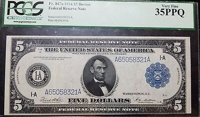 DH Fr 847a 1914 $5 Boston Federal Reserve Note VF 35 PPQ
