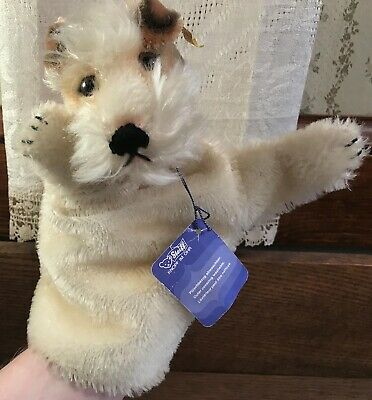 Vintage Steiff Fox Terrier Hand Puppet Toy with Ribbon, Tags & Button, Germany