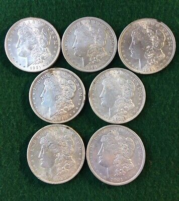 US 1921 Morgan Dollar Lot of 7 Coins, 90% Silver Coin, VF- AU Condition, Nice!!!