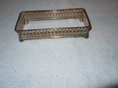 Vintage silver plate oblong dish holder, butter dish of glass dish 14 x 6 cm