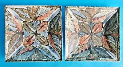 Vintage Bourne Denby Hand Painted 'Glynbourne' Square Dishes x 2 with Signatures