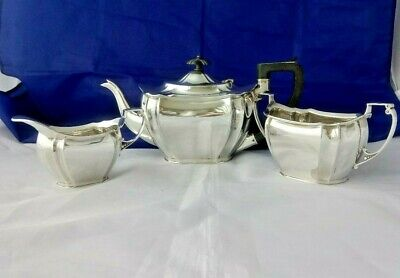 VTG Silver Plate 3 Piece Teaset Art Deco Design Frederick C Asman & Co Sheffield