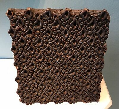 Antique arts crafts carved wooden printing block pattern textile #4