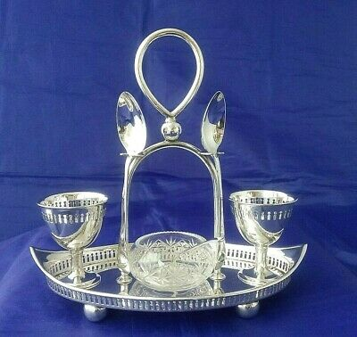 VTG Silver Plate Eggcup Stand / Cruet & Open Glass Salt Robert Pringle & Co