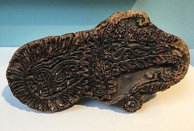 Antique arts crafts carved wooden printing block pattern textile #6