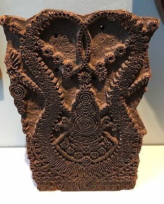 Large Antique arts crafts carved wooden printing block pattern textile #3