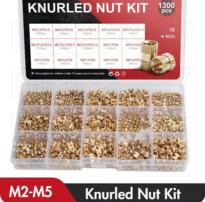 210Pcs M2-M10 Assorted Brass Cylinder Knurl Nuts Round Insert Embedded Pack Case