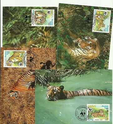 Laos 1984 WWF tiger stamps maximum cards used