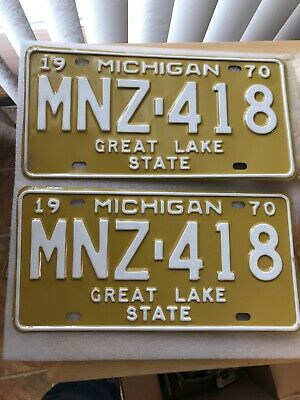 Vintage Michigan 1970 License Plate Matching Set Never Used Nos New Old Stock