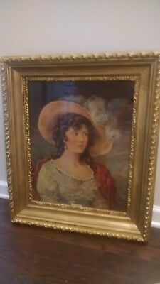 Vintage-Framed-Print-Of-An-Oil-Painting-Believed-To-Be-Of-Lady-Abbott-By-Beach