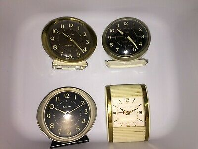 Vintage Circa 50s Lot of 4 Westclox Alarm Clock Baby Ben, Drowse & One Other