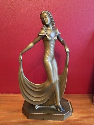 Original 1930s Art Deco Statue Figure Of An Elegant Lady Match Striker