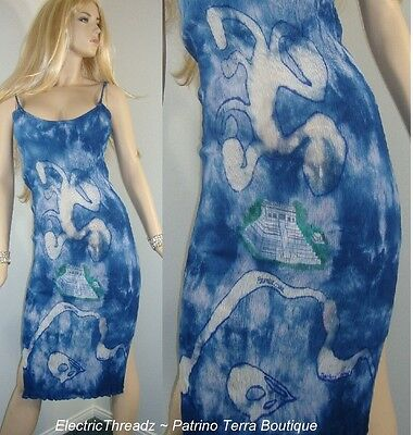 Mexican Mayan Pyramid Hand Painted AIRBRUSHED Blue Tie-Dye GAUZE Wiggle DRESS