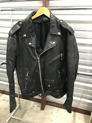 MENS XL - Vtg Motorcycle Biker Supple Leather Black Jacket