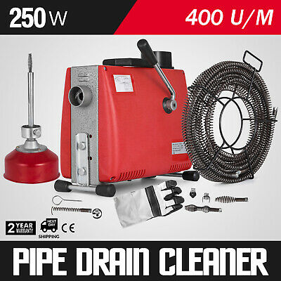 Ø20-100mm 250W Pipe Drain Cleaning Machine 4.5mx9.5mm 15mx16mm Spirals 400r/min