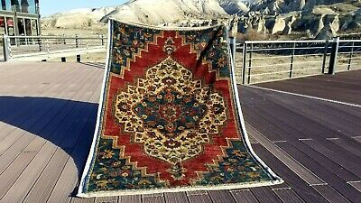 """Genuine Antique 1930-1940s Vegy Dyes 4'7x8"""" Wool Pile Hand-Knotted Fragment Rug"""