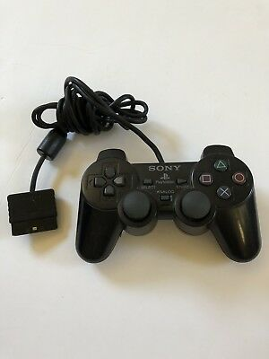 Official Black Sony Dualshock 2 Controller Game Pad Playstation PS2 Works Great!