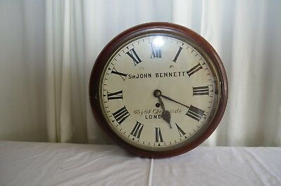 "c.1880's Sir John Bennett Eight Day Mahogany Fusee Wall 14"" Painted Dial Clock"
