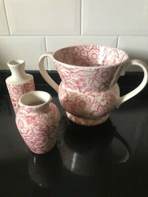 Emma Bridgewater Pink Wallpaper two handled vase, mustard vase and bottle set