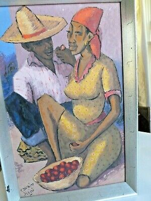 Original Signed Haitian Oil Painting, by Petion Savain, mid-century ethnic