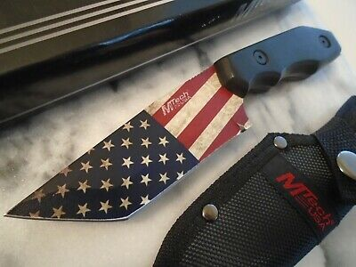 Mtech USA Flag Tanto Bowie Hunter Combat Knife 4mm Full Tang Blackwood 20-87BA