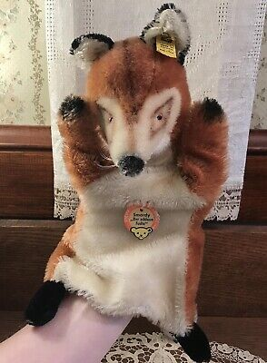 Vintage Steiff Fox Puppet Toy with Tags & Button, Mohair, Glass Eyes, Germany
