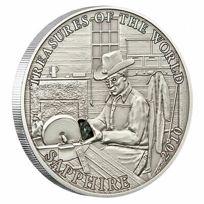 2010 PALAU 5$ Silver Coin Sapphire - Treasures Of The World Series