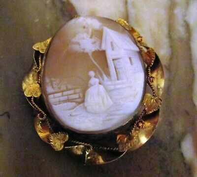 """Antique Vintage Orange Cameo Brooch/ Pin 2"""" Woman And House Gold Tone"""