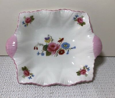"""Shelley Fine Bone China Rose and Red Daisy 5"""" Sweet Meat Dish Trinket"""