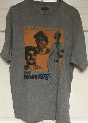 Red Jacket, New York Mets 1986 Summer T-Shirt, Mens XL, Gray