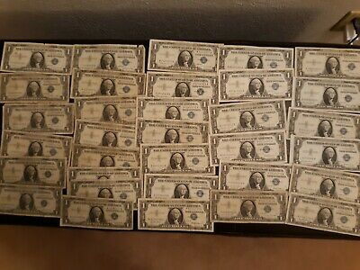 (34) 1935 1957 $1 One Dollar Silver Certificates Notes collection old money lot