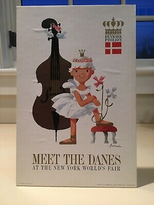 1964 1965 New York World's Fair Denmark Pavilion Original Poster Super Rare