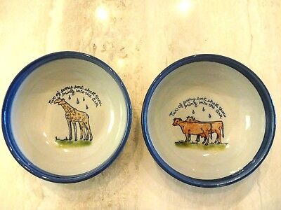 """TWO Louisville Stoneware Noah's Ark  """"2 and 2"""" Cereal Bowls - Cattle & Giraffes"""