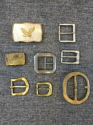 Lot Of 8 Vintage Belt Buckles Various Metals